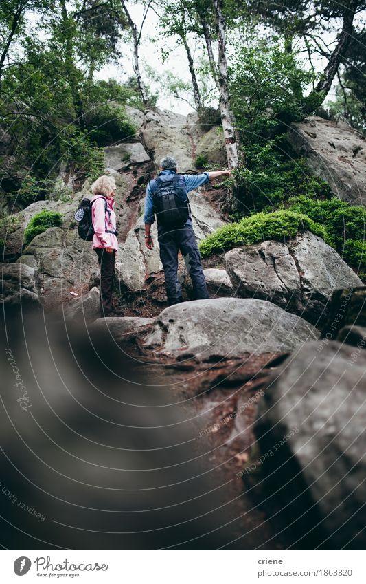 Ältere Paare, die Abflussrinnenberge am bewölkten Sommertag wandern Frau Ferien & Urlaub & Reisen Mann alt Baum Erholung Wolken Freude Wald Berge u. Gebirge