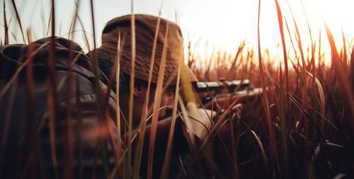Jäger mit dem Gewehr, das in langes Gras legt Mensch Natur Mann Tier Erwachsene Lifestyle Sport Spielen wild Freizeit & Hobby maskulin Bauernhof Leidenschaft