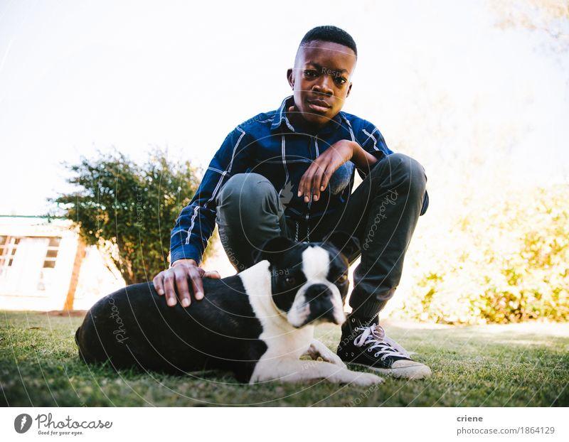 Mensch Kind Hund Sommer Tier Wiese Lifestyle Gras Junge Garten Zusammensein Park Kindheit Fröhlichkeit niedlich Kindheitserinnerung