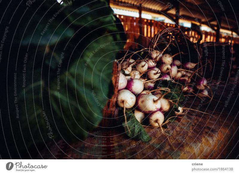 Frisches Bündel organischer Rettich auf Lebensmittelmarkt Gemüse Ernährung Essen Bioprodukte Vegetarische Ernährung Diät Fasten Lifestyle Gesundheit frisch gut