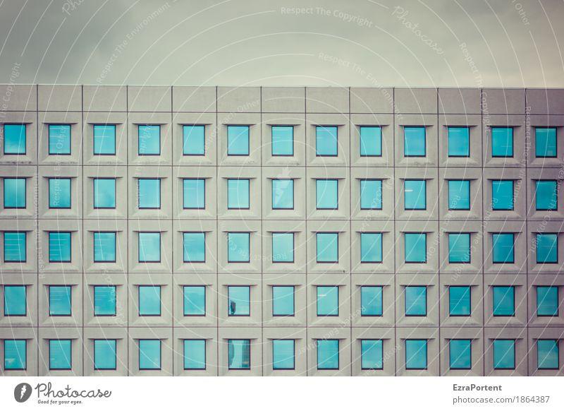 65 Himmel Haus Bauwerk Gebäude Architektur Mauer Wand Fassade Fenster Beton Glas Linie modern blau grau türkis Coolness Kraft Macht ästhetisch