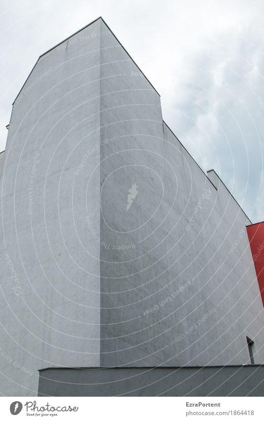 Red Eck Himmel Wolken Stadt Haus Bauwerk Architektur Mauer Wand Fassade Fenster Beton Linie kalt grau rot Hinterhof deutlich minimalistisch