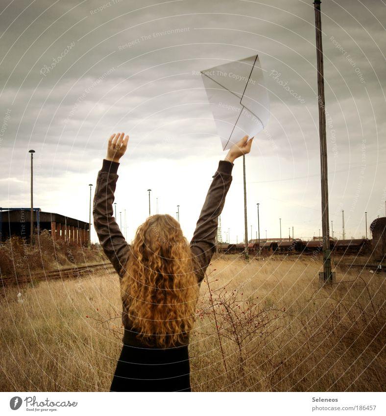 airmail Mensch Himmel Natur Hand Jugendliche Frau feminin Herbst Umwelt Landschaft Gras Haare & Frisuren Bewegung Arme Horizont Eisenbahn