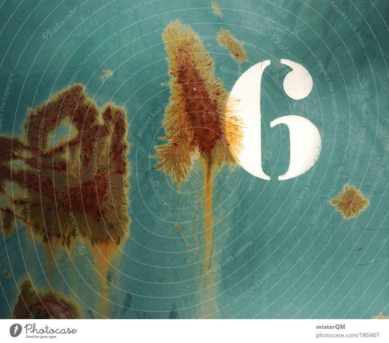 Lucky Six. Metall Kunst Zeit dreckig Ordnung Design modern Zukunft Baustelle Ziffern & Zahlen Ende Symbole & Metaphern Zeichen Kreativität Stahl Rost