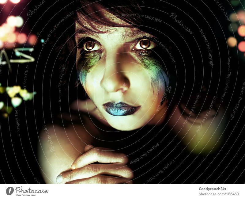 Wishing You Well schön feminin Junge Frau Jugendliche Leben Haut Kopf Gesicht 1 Mensch Kunst beobachten berühren Denken träumen warten glänzend Unendlichkeit