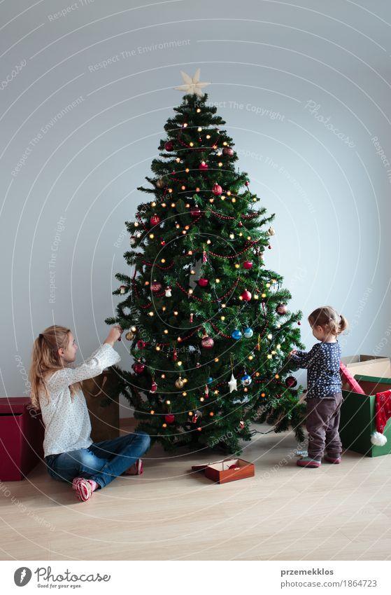 Junges Mädchen und ihre kleine Schwester, die Weihnachtsbaum verziert Lifestyle Freude Dekoration & Verzierung Feste & Feiern Kind Kleinkind