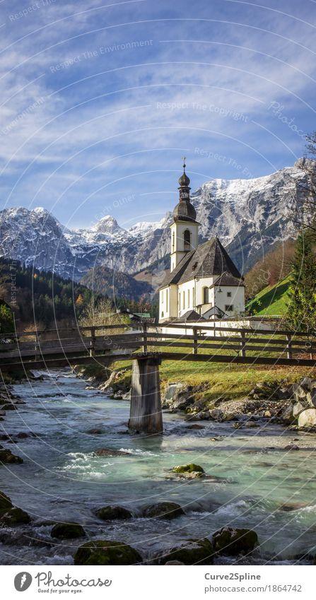 Kirche Ramsau (Berchtesgaden) Himmel Natur Wasser Wolken Wald Berge u. Gebirge Religion & Glaube Herbst Wiese Schnee Stein Felsen Eis Schönes Wetter Brücke