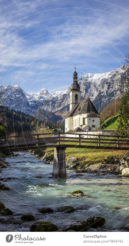 Kirche Ramsau (Berchtesgaden) Natur Wasser Himmel Wolken Herbst Schönes Wetter Eis Frost Schnee Wiese Wald Hügel Felsen Alpen Berge u. Gebirge Gipfel