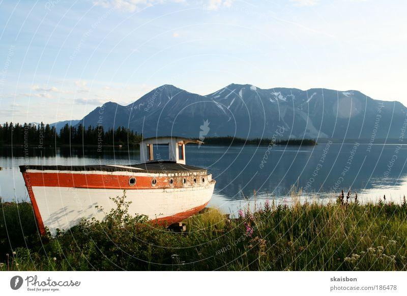 atlin Erholung ruhig Angeln Ferien & Urlaub & Reisen Tourismus Ferne Sommer Insel Berge u. Gebirge Natur Landschaft Wasser Schönes Wetter Gletscher Seeufer