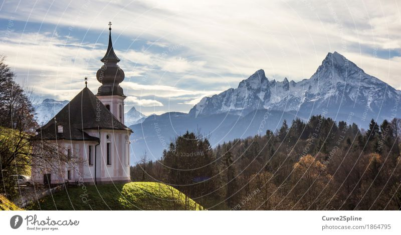 Kirche Maria Gern Landschaft Himmel Wolken Herbst Eis Frost Schnee Wiese Wald Hügel Felsen Alpen Berge u. Gebirge Gipfel Schneebedeckte Gipfel Dorf Zeichen