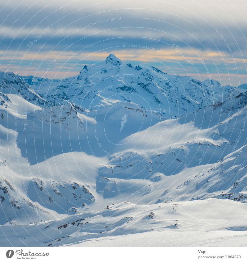 Himmel Natur Ferien & Urlaub & Reisen blau weiß Landschaft Wolken Winter Berge u. Gebirge gelb Sport Schnee Felsen Tourismus orange Eis
