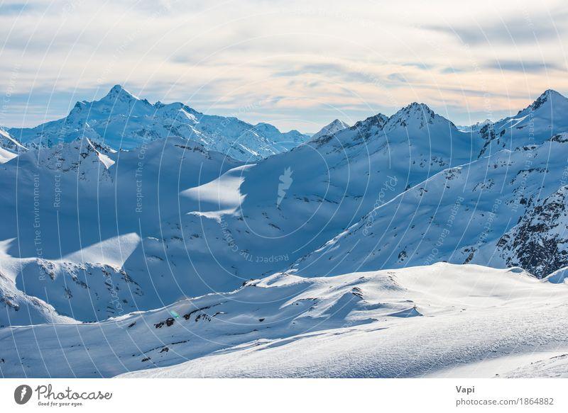Himmel Natur Ferien & Urlaub & Reisen blau weiß Landschaft Wolken Winter Berge u. Gebirge schwarz gelb Schnee Felsen Tourismus orange Eis
