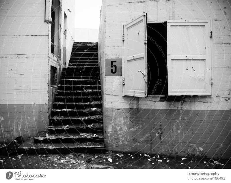 Das 5. Türchen Stadt Wand Fenster Mauer Gebäude Architektur Tür Treppe trist Ziffern & Zahlen Häusliches Leben Vergänglichkeit verfallen 5 Vergangenheit