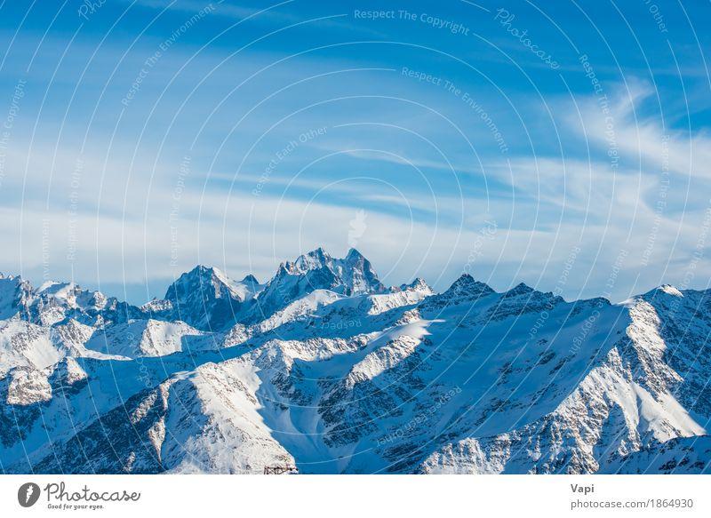 Blaue Berge Snowy mit Spitzen in den Wolken Himmel Natur Ferien & Urlaub & Reisen blau weiß Landschaft Winter Berge u. Gebirge schwarz Schnee Felsen Tourismus