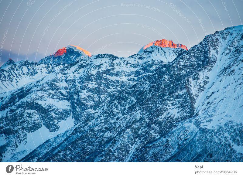 Blaue Berge Gipfel bei Sonnenuntergang Himmel Natur Ferien & Urlaub & Reisen blau schön weiß Landschaft rot Wolken Winter Berge u. Gebirge gelb Schnee Felsen