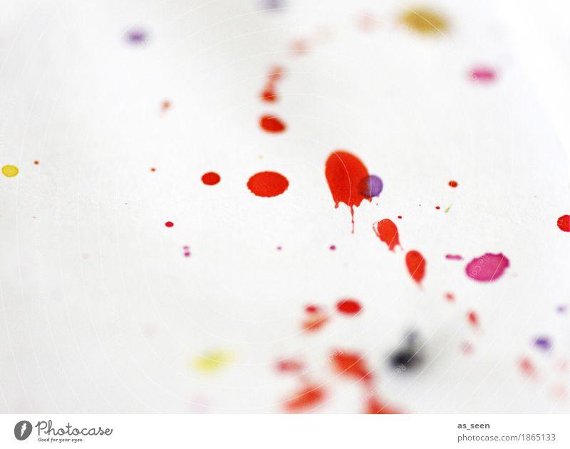Action Painting Farbe weiß rot Freude Leben Gefühle Kunst Stimmung Design Freizeit & Hobby leuchten frisch ästhetisch Fröhlichkeit nass Papier