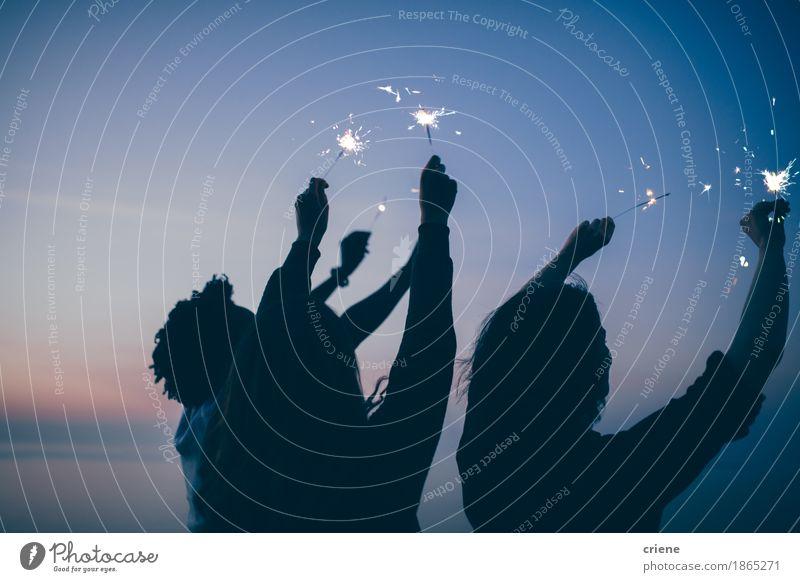 Freunde feiern Silvesterparty mit Wunderkerzen Frau Ferien & Urlaub & Reisen Jugendliche Weihnachten & Advent Sommer schön Junge Frau Junger Mann Freude