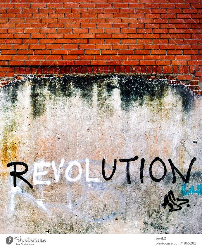 Zeit für Rebellen Kunstwerk Jugendkultur Subkultur Ribniz-Damgarten Kleinstadt Mauer Wand Fassade Backsteinwand Putz Schriftzeichen Graffiti trashig Wut