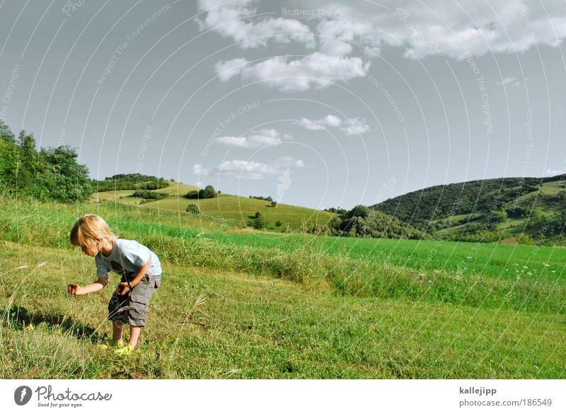 jäger und sammler Mensch Kind Natur Sonne Ferien & Urlaub & Reisen Sommer Ferne Spielen Landschaft Berge u. Gebirge Junge Haare & Frisuren Kindheit