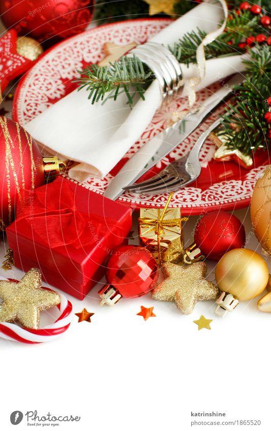 Rote und goldene festliche Tabelleneinstellung Abendessen Teller Messer Gabel elegant Winter Dekoration & Verzierung Feste & Feiern Weihnachten & Advent