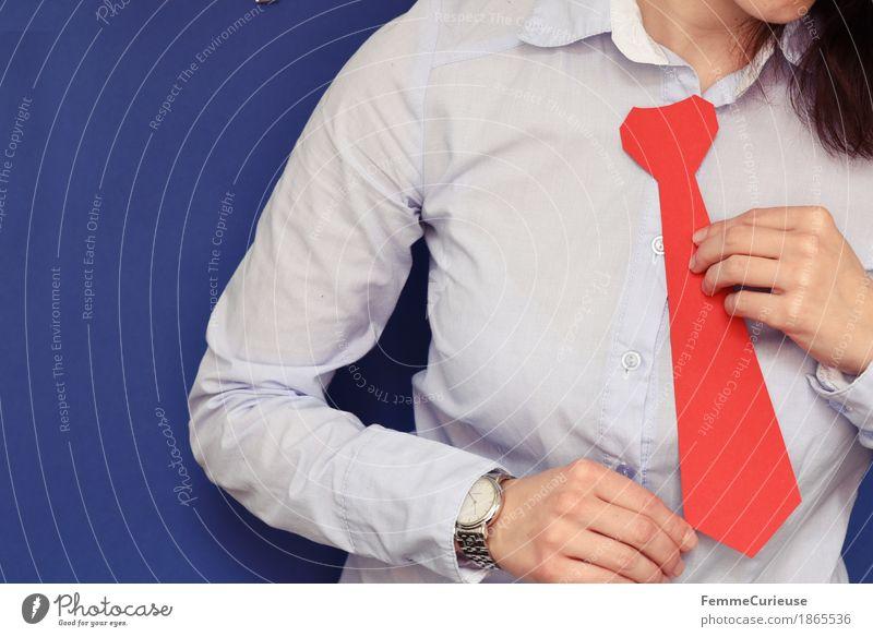 Business10 Mensch Frau Jugendliche blau Junge Frau rot 18-30 Jahre Erwachsene feminin maskulin Büro Erfolg Hemd silber Karton