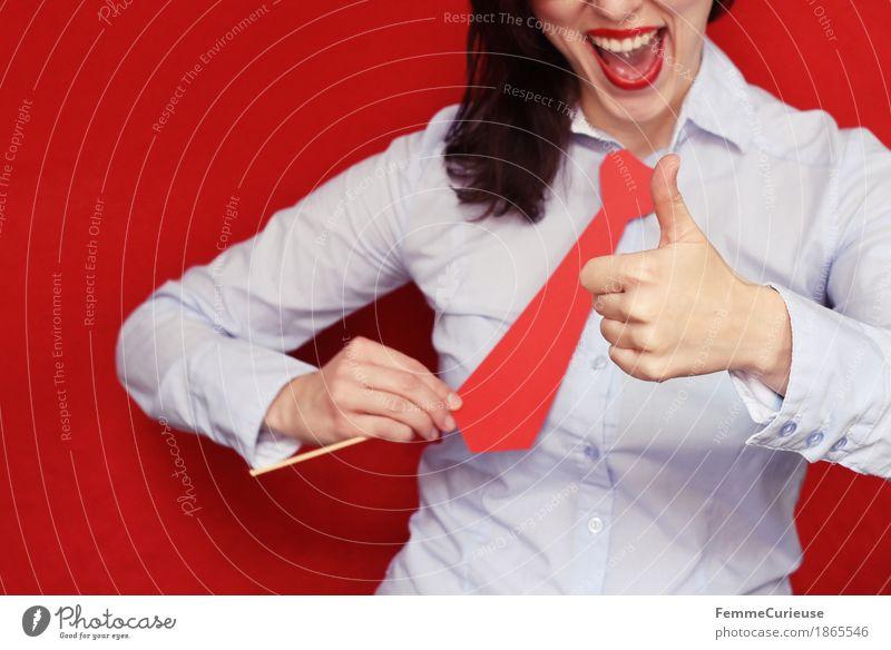 Business13 Mensch Frau Jugendliche Junge Frau rot 18-30 Jahre Erwachsene feminin Business maskulin Büro Erfolg hoch Hemd Karriere positiv