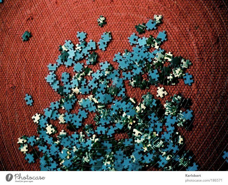 puzzle. me. blau rot Freude Leben Spielen Freizeit & Hobby Wohnung Design verrückt Lifestyle Boden Bodenbelag Häusliches Leben Schatten Bildung mehrfarbig