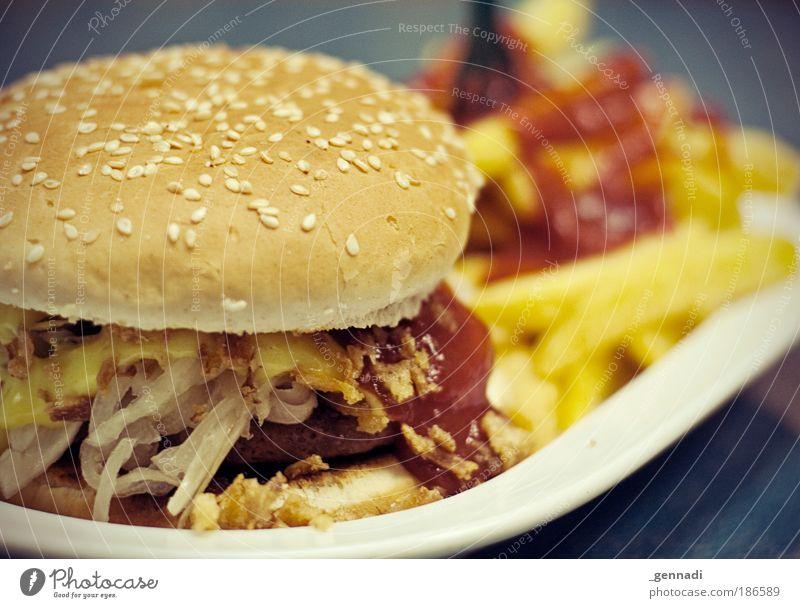 Frühstück, Mittagessen und Abendbrot Ernährung Lebensmittel Restaurant modern einzigartig Speise Appetit & Hunger lecker Fett Fleisch Fastfood ungesund Hamburger Zwiebel Pommes frites Ketchup