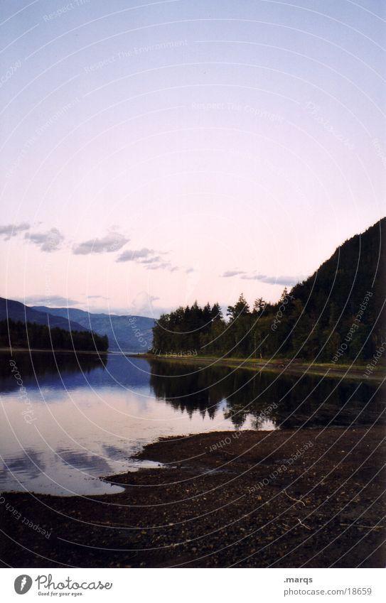 Abendstimmung Himmel schwarz Wald dunkel See violett Klarheit Kanada