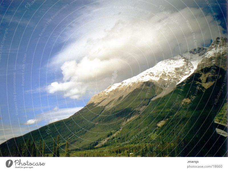 Bedeckt Himmel Baum Wolken Wald Schnee Berge u. Gebirge Gipfel Kanada Schleier Rocky Mountains
