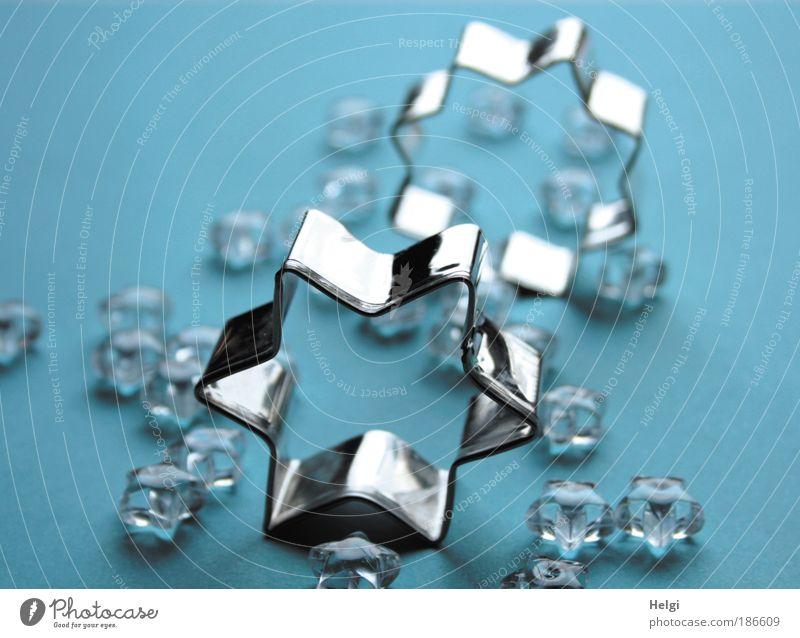 Sterne Dekoration & Verzierung Kitsch Krimskrams Stern (Symbol) Strukturen & Formen Glas Metall Zeichen glänzend ästhetisch eckig schön klein blau silber