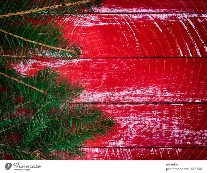 Roter hölzerner Hintergrund mit Niederlassungstanne Winter Dekoration & Verzierung Tisch Feste & Feiern Weihnachten & Advent Baum Holz alt hell neu grün rot