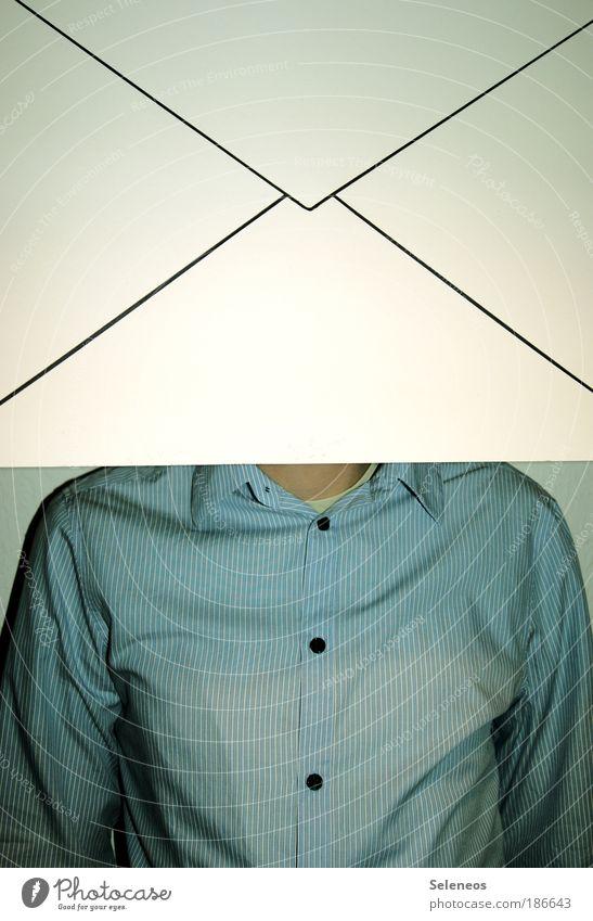 Briefkopf Mann Kopf Erwachsene Business lustig Schilder & Markierungen maskulin Netzwerk Stoff Kommunizieren Internet Hinweisschild schreiben Kreativität Kontakt Hemd