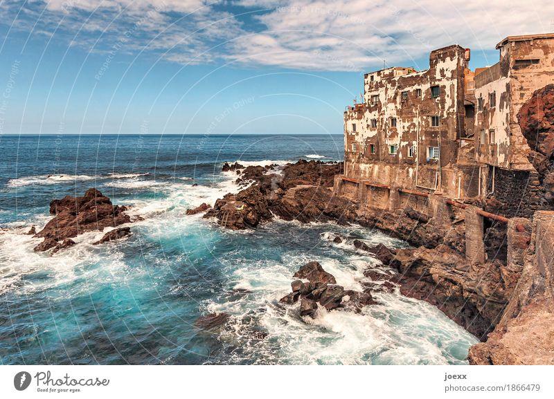 Shabby chic Himmel alt Sommer blau weiß Meer Haus Wolken Wärme Wand Küste Mauer braun Fassade Horizont retro