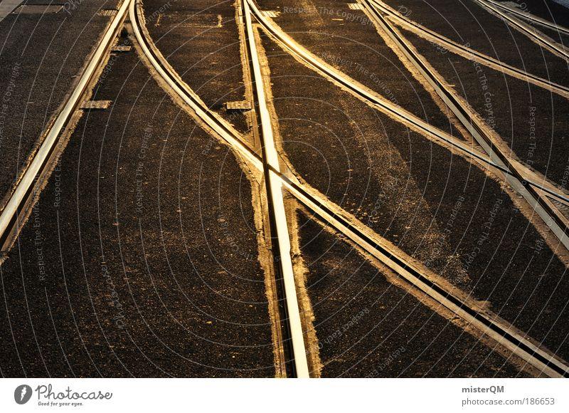 Nahverkehr. Straße Wege & Pfade gold Verkehr Zukunft Netzwerk viele Asphalt Gleise Verbindung Mobilität Straßenbelag Kurve durcheinander Schicksal Straßenbahn
