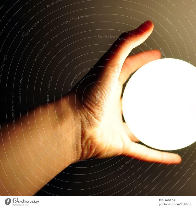 nachtlicht Hand weiß Lampe hell Energie Finger Schutz heiß Kugel Warmherzigkeit berühren Neugier festhalten leuchten Geborgenheit Glühbirne