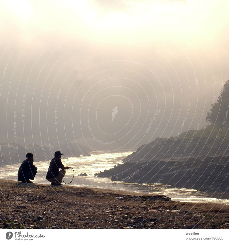 Mekong Melancholie Mensch Natur Wasser Wolken Sand Landschaft hell Stimmung warten Nebel maskulin Armut Felsen Fluss Rauchen Asien