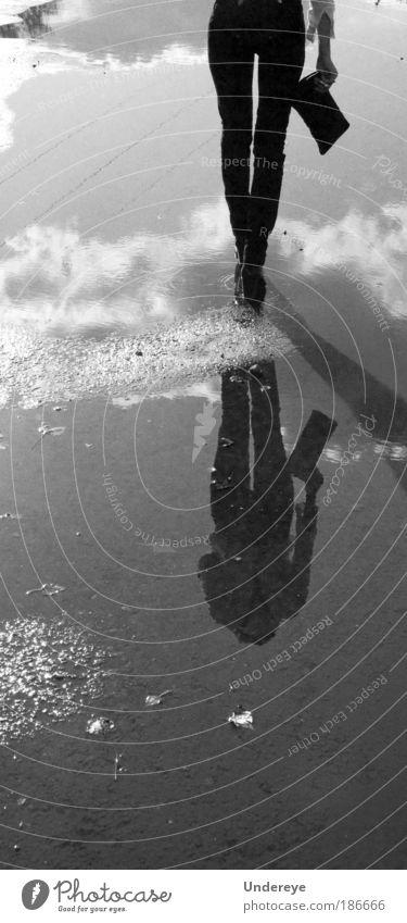 In den Himmel gehen Freude schön Maschine Frau Erwachsene Arme Hand Beine 1 Mensch 18-30 Jahre Jugendliche Wasser laufen dünn elegant frei Fröhlichkeit lang