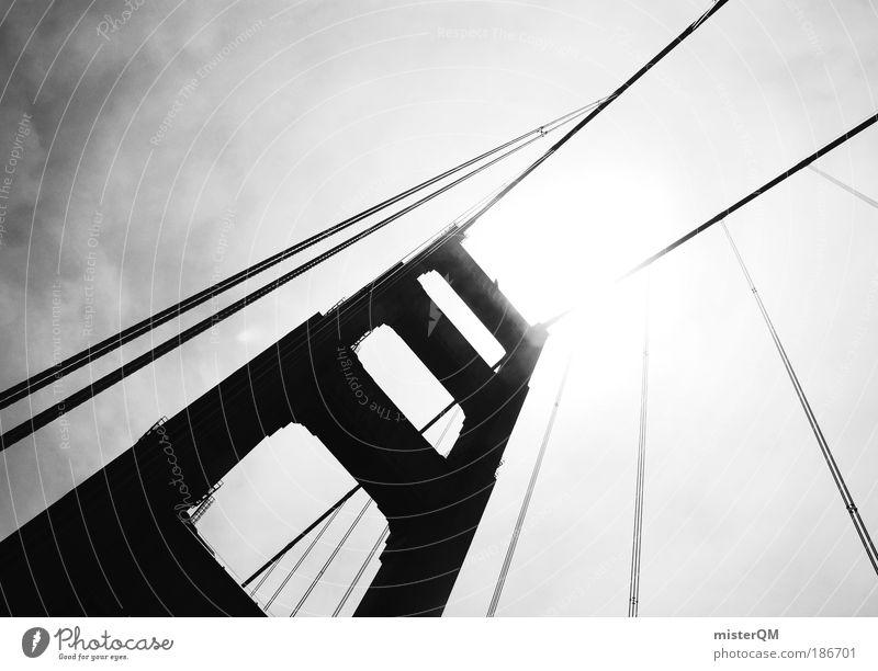steel meets heaven. Himmel Freiheit Architektur Kraft hoch Design Erfolg ästhetisch Brücke Perspektive Zukunft bedrohlich Macht außergewöhnlich Bauwerk Stahl