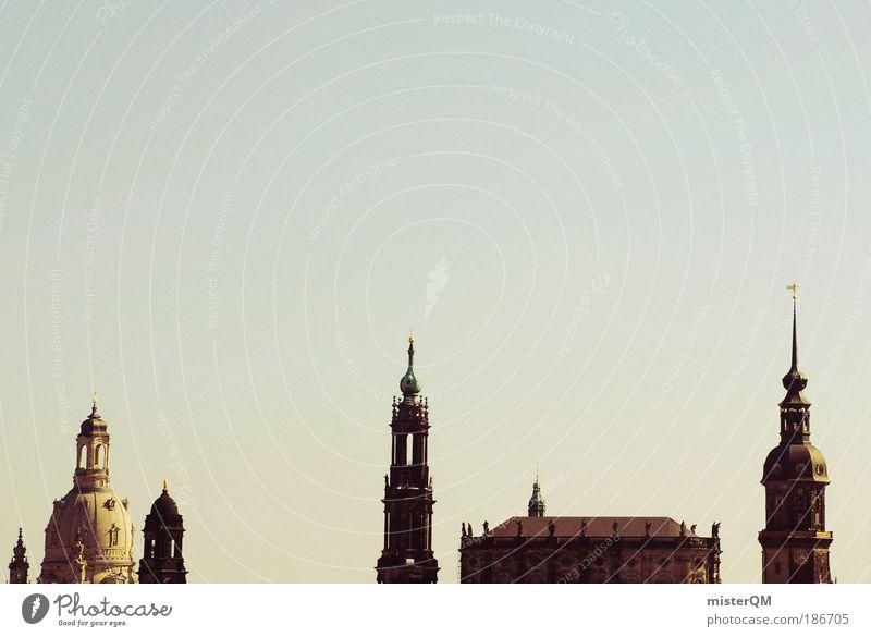 Elbflorenz. schön Himmel Haus Architektur Zeit Perspektive ästhetisch Zukunft Kultur Dresden Burg oder Schloss Skyline Vergangenheit Gemälde historisch Stadt