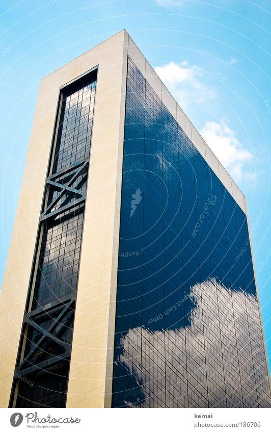 Wolke 7 New York City USA Haus Hochhaus Bankgebäude Gebäude Architektur Fassade Reflexion & Spiegelung Wolken Glas groß oben blau weiß Macht Interesse