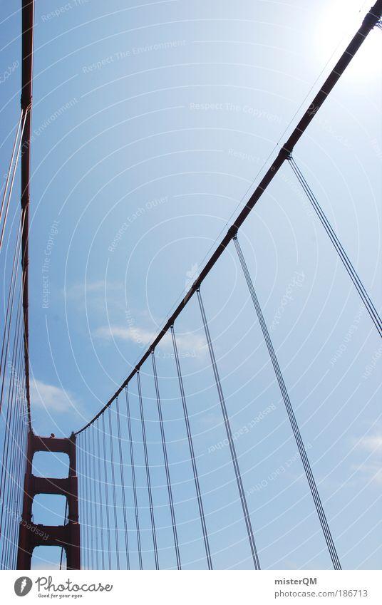 Big Red. rot Architektur Zufriedenheit groß Tourismus ästhetisch Brücke Perspektive USA Reisefotografie Bauwerk Rost Verbindung Amerika Stahlkabel Stress