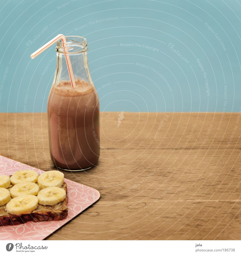 Kategorie: Lecker Lebensmittel Frucht Brot Süßwaren Schokolade Ernährung Vegetarische Ernährung Getränk Kakao Flasche Trinkhalm Wohlgefühl Tisch lecker Banane