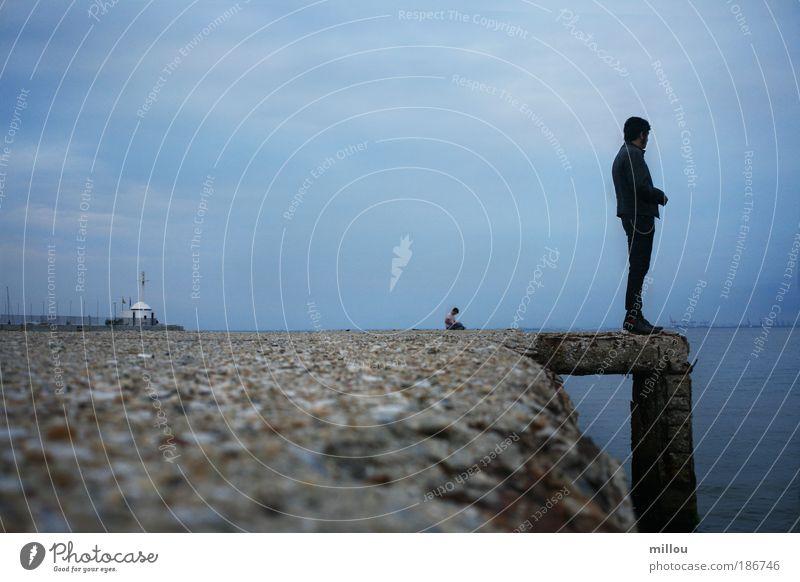 Himmel Wasser blau Strand Wolken Einsamkeit Erholung Traurigkeit Denken träumen Horizont Freizeit & Hobby warten Insel Kirche stehen
