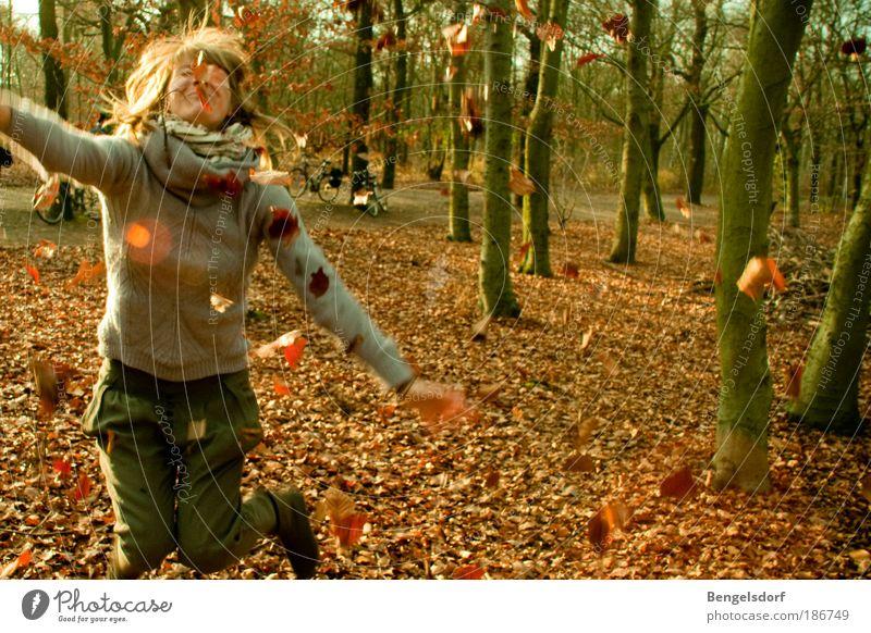 Blätterschlacht Mensch Umwelt Jugendliche Frau Ferien & Urlaub & Reisen Pflanze Blatt Wald Ferne Leben Herbst Spielen Freiheit Bewegung Beine Natur