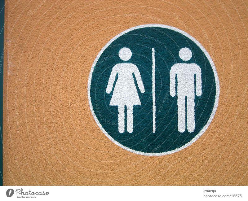 Fe|male Mensch Frau Mann weiß grün feminin orange Schilder & Markierungen maskulin Kreis Hinweisschild rund Kommunizieren Reinigen Toilette urinieren