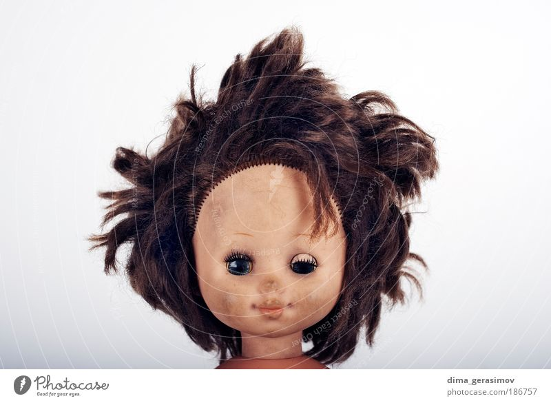 Mensch Frau Mädchen Erwachsene Kopf lachen Porträt Coolness niedlich Lächeln Spielzeug Freundlichkeit gruselig machen skurril Stress