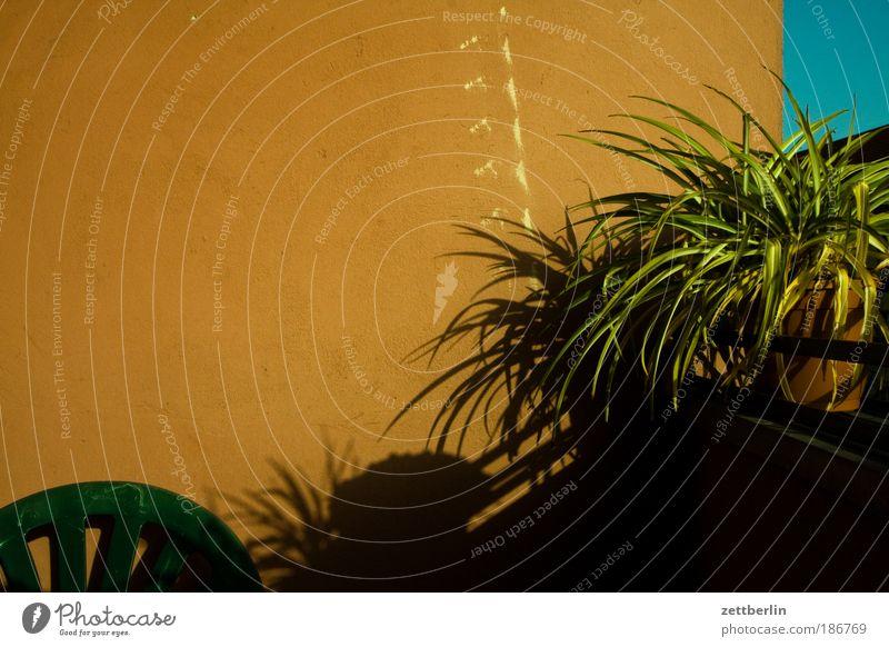 Raucherecke Balkon Loggia Häusliches Leben Wohnung Pflanze Balkonpflanze Grünpflanze Stuhl stapelstuhl Gartenstuhl Möbel Gartenmöbel Wand Menschenleer