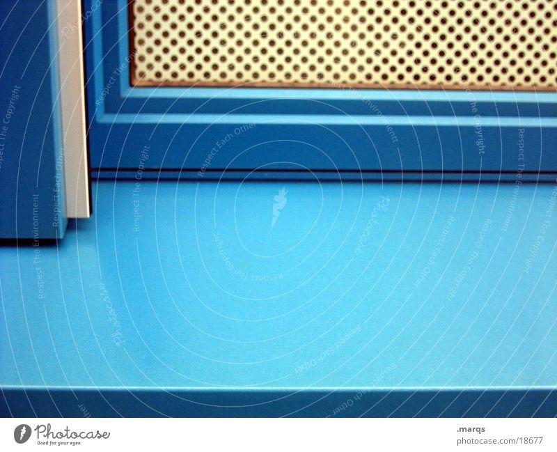 Orthogonal blau Fenster Ecke Gitter Fensterbrett Fototechnik
