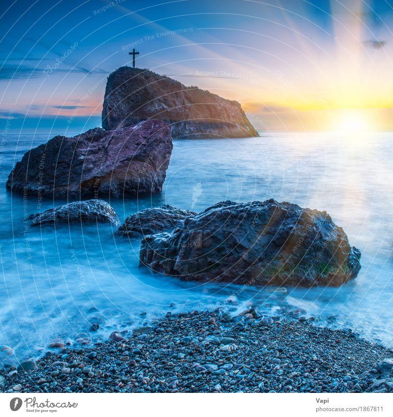 Sonnenuntergang am Strand mit Meer Ferien & Urlaub & Reisen Ausflug Abenteuer Sightseeing Sommer Sommerurlaub Insel Wellen Tapete Natur Landschaft Wasser Himmel